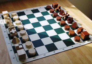 Wooden Chess set building blocks